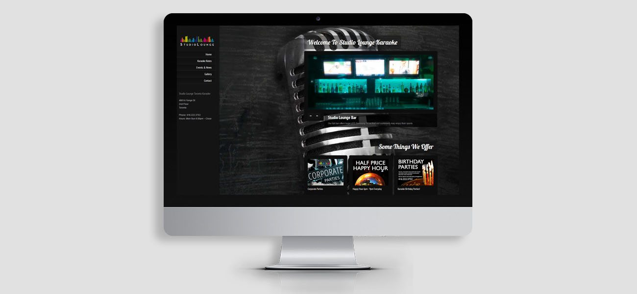 studio lounge website design
